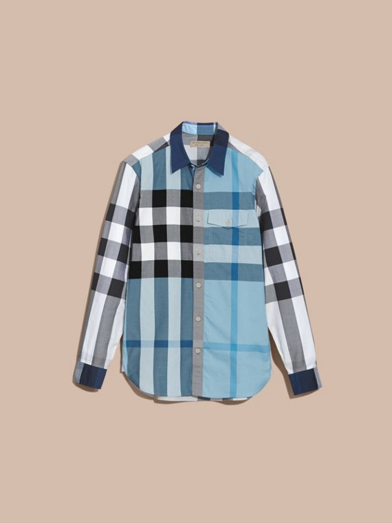 Check Cotton Poplin Shirt in Pale Blue - cell image 3