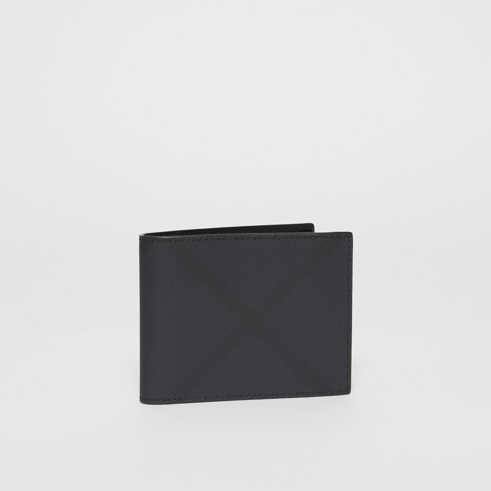 London Check and Leather Bifold Wallet in Dark Charcoal - Men | Burberry United Kingdom - gallery image 3