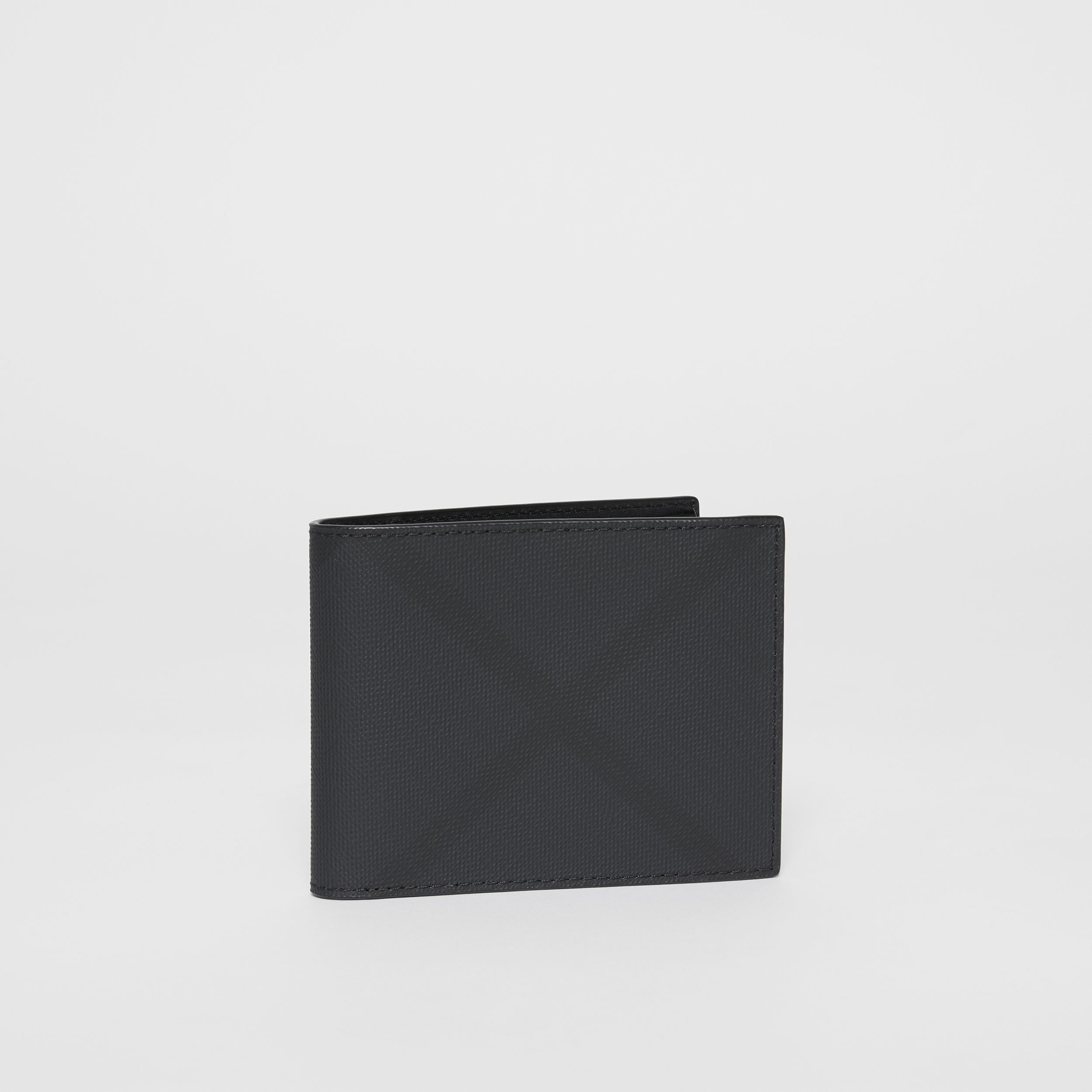 London Check and Leather Bifold Wallet in Dark Charcoal - Men | Burberry - 4