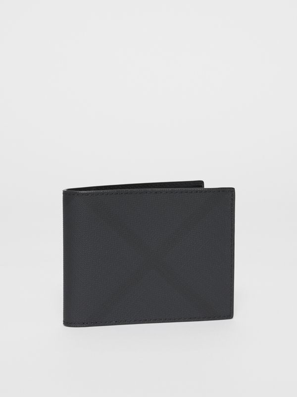 London Check and Leather Bifold Wallet in Dark Charcoal - Men | Burberry United Kingdom - cell image 3