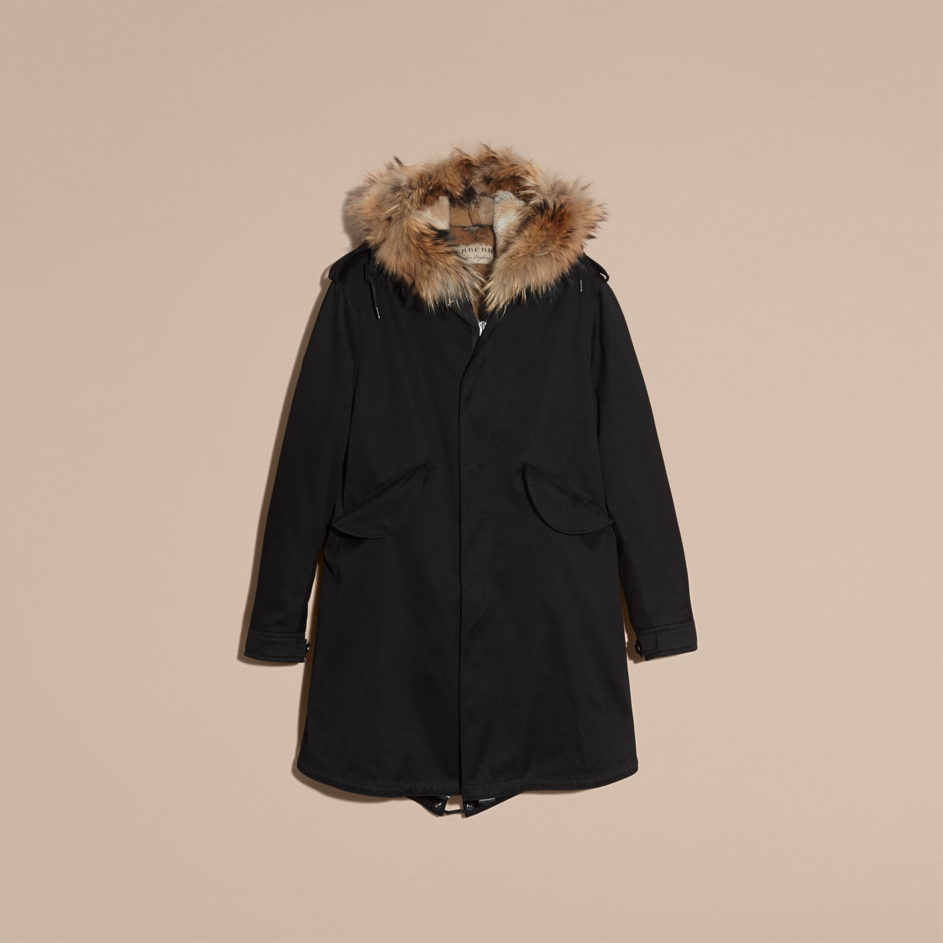 Black Cotton Sateen Parka with Fur Trim and Warmer - gallery image 4