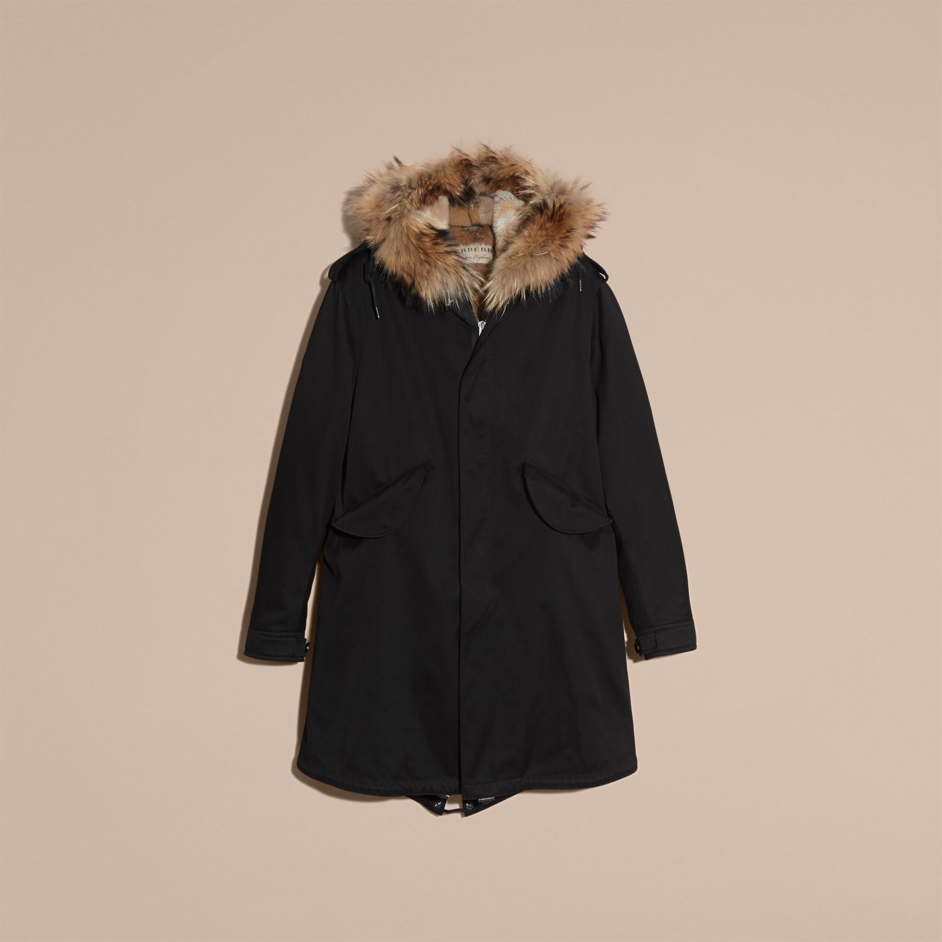 Noir Parka en satin de coton avec bordure et gilet intérieur en fourrure - photo de la galerie 4