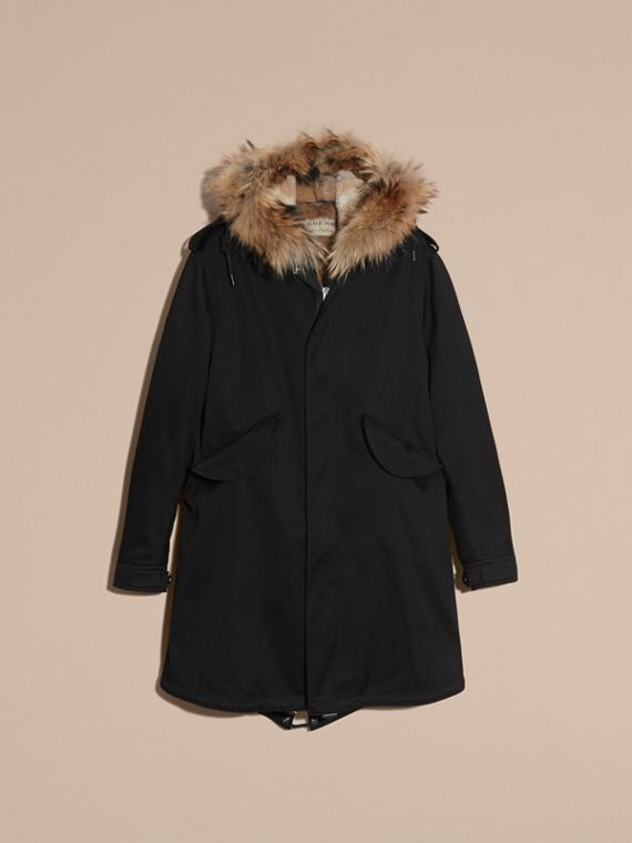 Black Cotton Sateen Parka with Fur Trim and Warmer - cell image 3