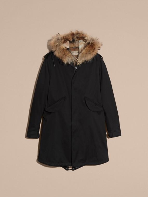 Noir Parka en satin de coton avec bordure et gilet intérieur en fourrure - cell image 3