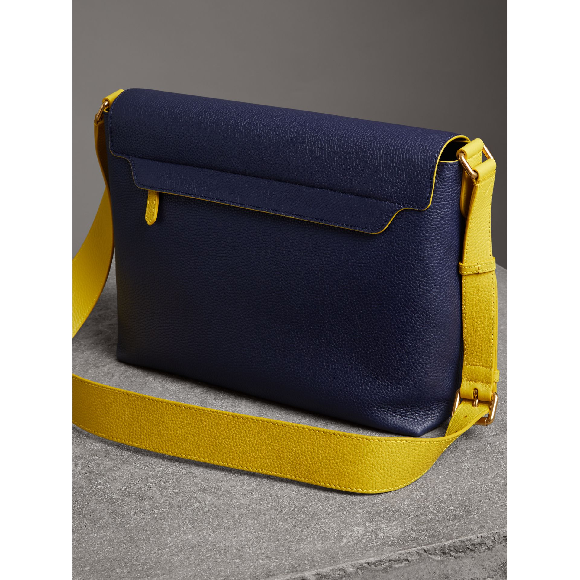Large Two-tone Embossed Leather Messenger Bag in Regency Blue - Men | Burberry Singapore - gallery image 4
