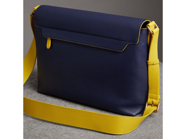 Large Two-tone Embossed Leather Messenger Bag in Regency Blue - Men | Burberry - cell image 4