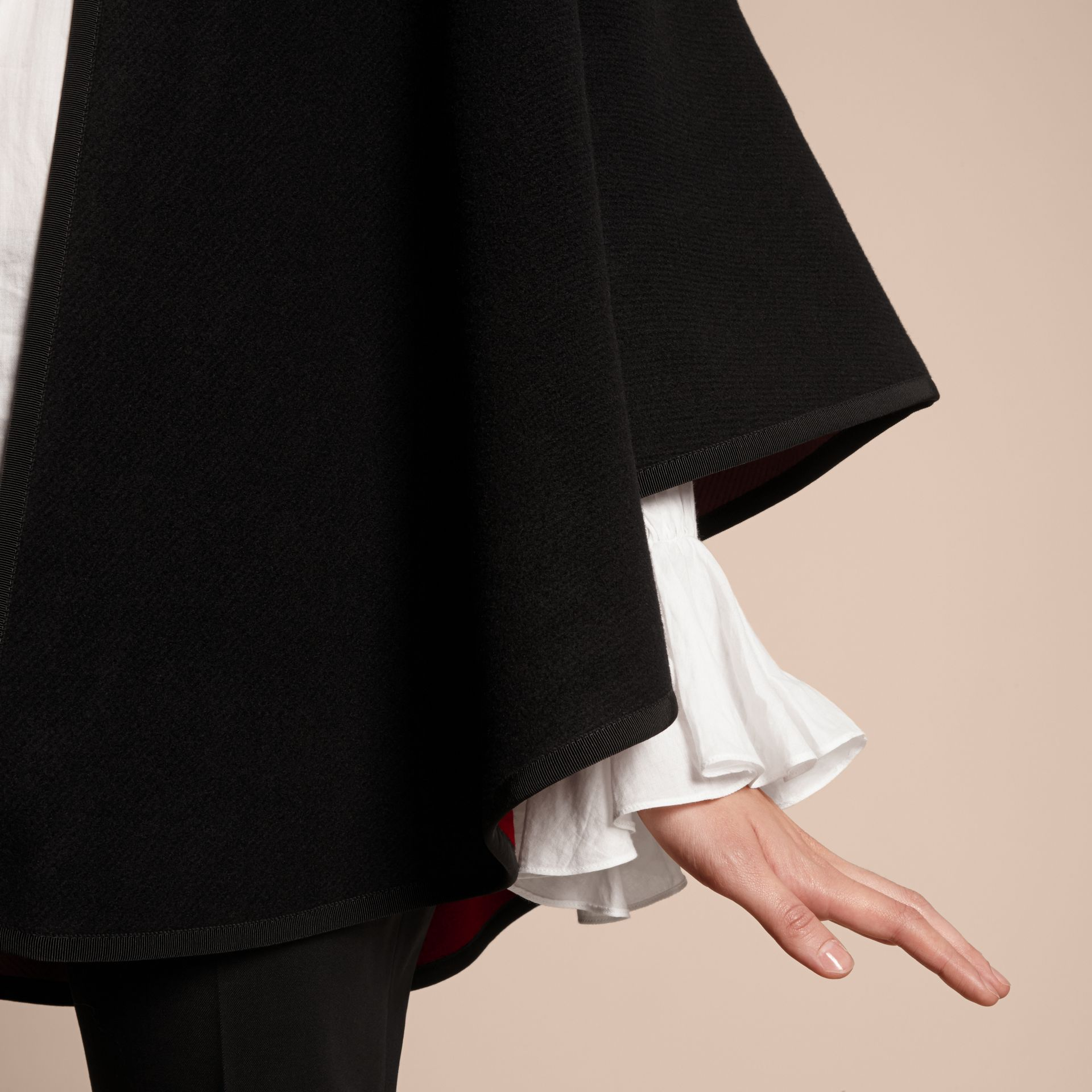 Wool Cashmere Military Cape in Black/parade Red - Women | Burberry - gallery image 6