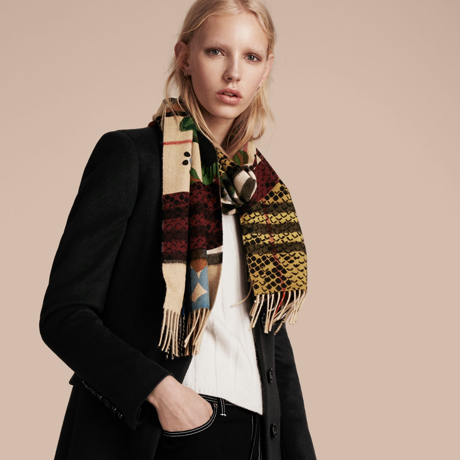 Multicolour The Classic Cashmere Scarf in Check with Patchwork Print - gallery image 3