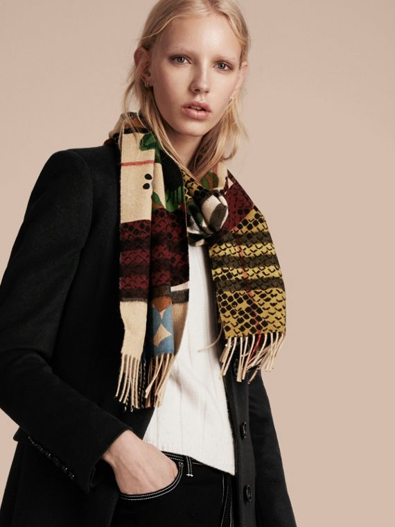 Multicolour The Classic Cashmere Scarf in Check with Patchwork Print - cell image 2