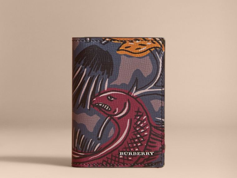 Beasts Print Leather Folding Card Case - Men | Burberry - cell image 4