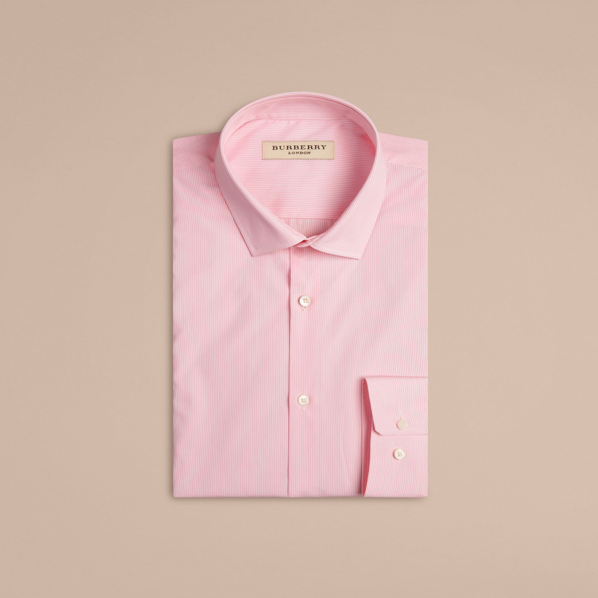 Modern Fit Striped Cotton Poplin Shirt in City Pink - gallery image 4