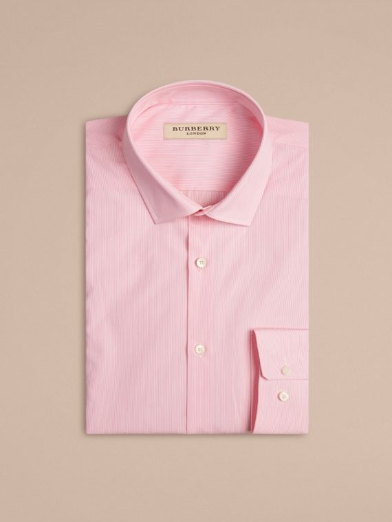 Modern Fit Striped Cotton Poplin Shirt in City Pink - Men | Burberry - cell image 3
