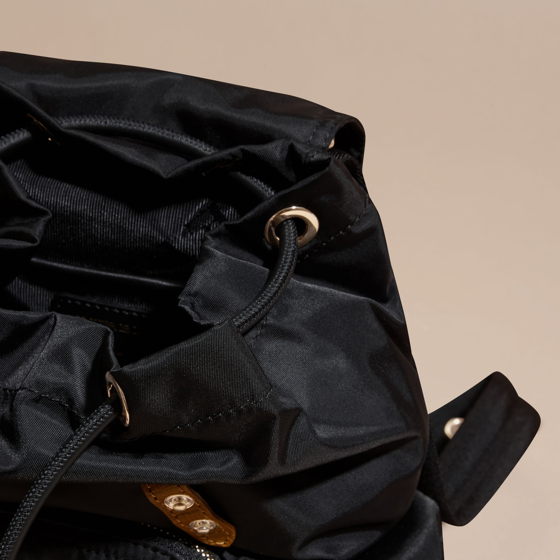 The Small Rucksack in Technical Nylon and Leather Black - gallery image 5