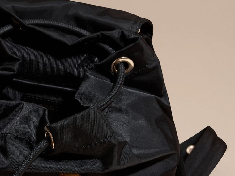 The Small Rucksack in Technical Nylon and Leather Black - cell image 4