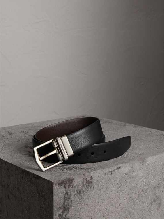 Reversible London Leather Belt in Black/chocolate