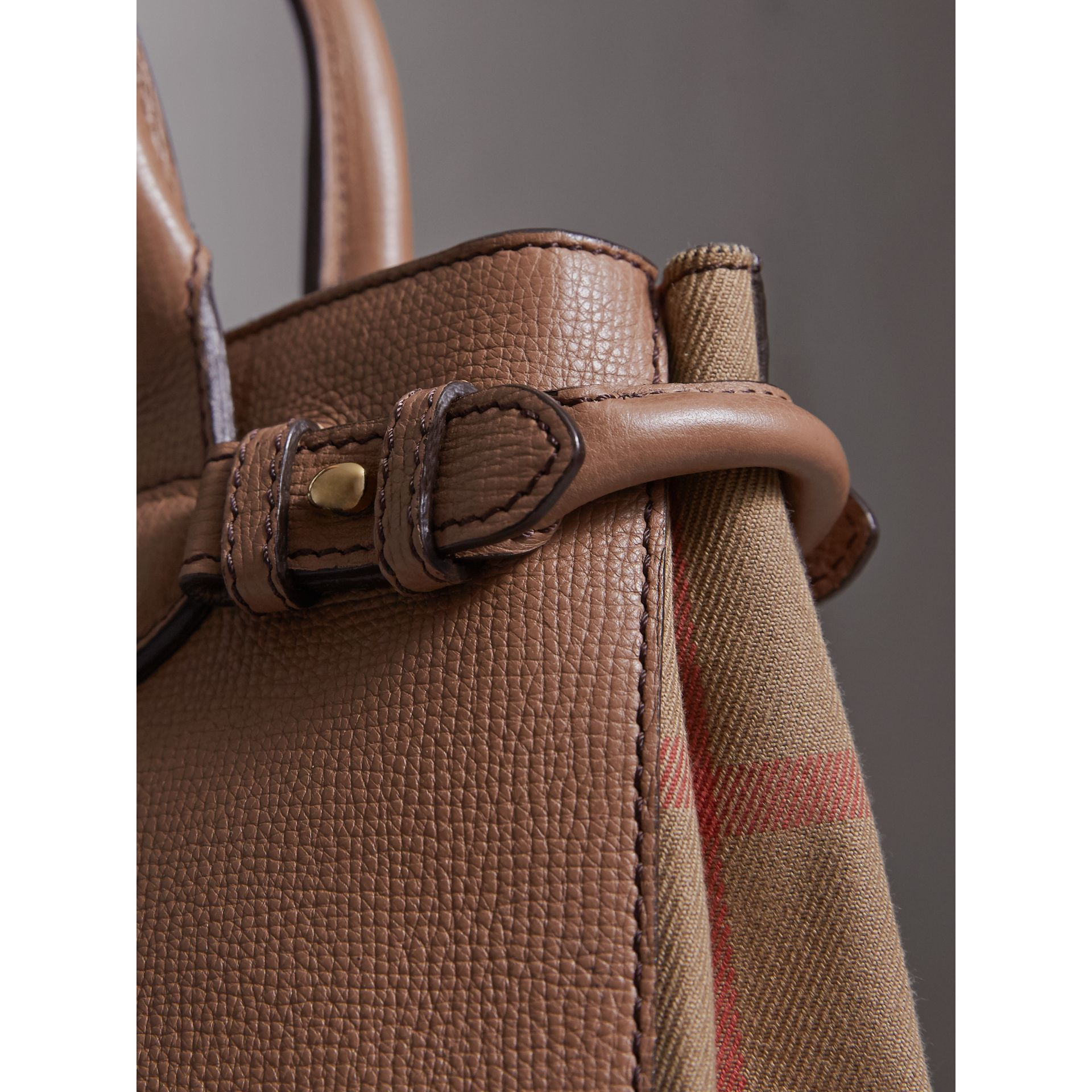 The Small Banner in Leather and House Check in Dark Sand - Women | Burberry United Kingdom - gallery image 1