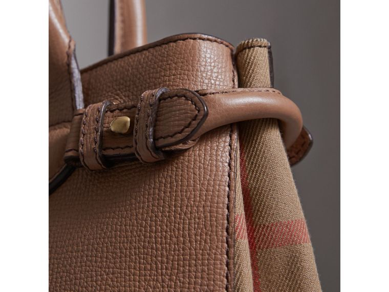 The Small Banner in Leather and House Check in Dark Sand - Women | Burberry - cell image 1