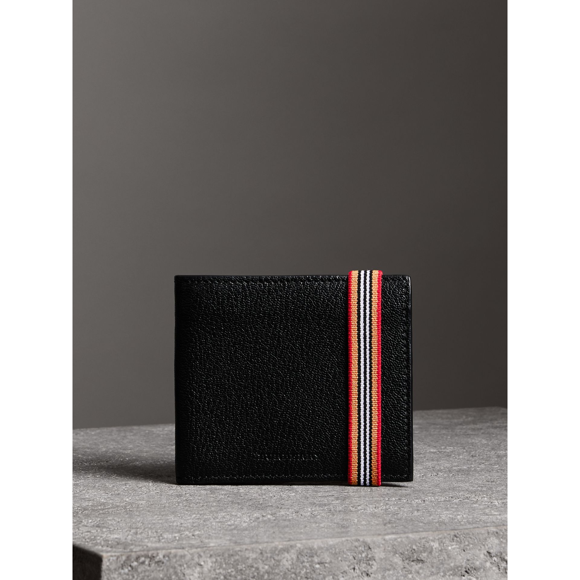 Heritage Stripe Leather International Bifold Wallet in Black - Men | Burberry Canada - gallery image 4