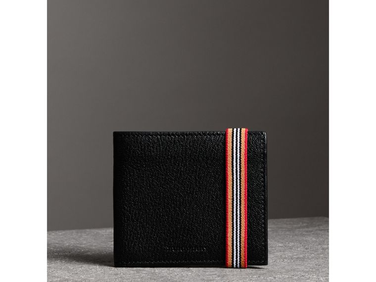 Heritage Stripe Leather International Bifold Wallet in Black - Men | Burberry Canada - cell image 4