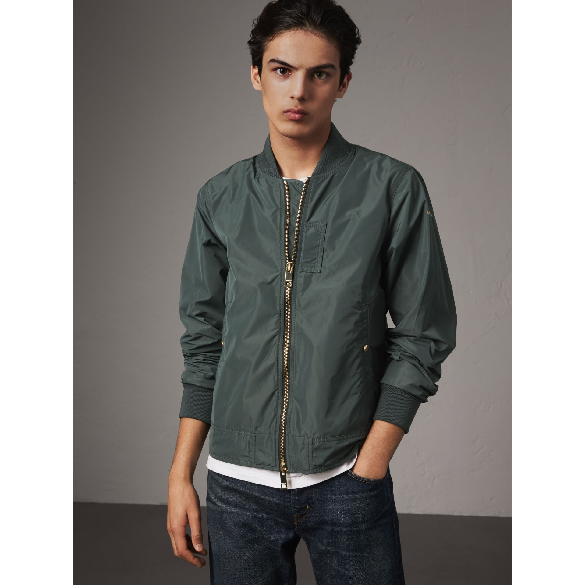 Shape-memory Taffeta Bomber Jacket in Smokey Green - Men | Burberry - gallery image 0