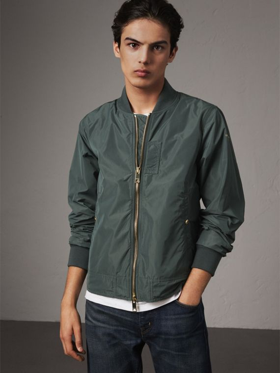 Shape-memory Taffeta Bomber Jacket in Smokey Green