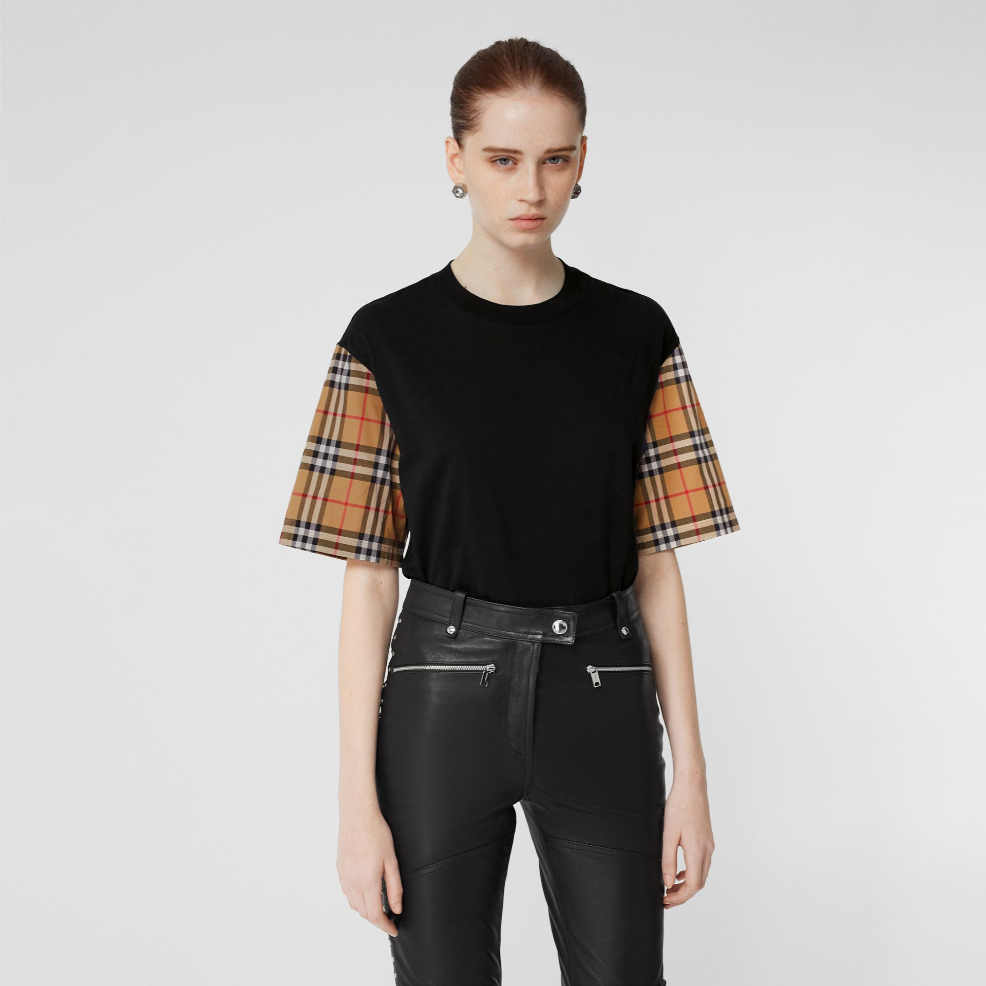 Vintage Check Detail Cotton T-shirt in Black - Women | Burberry - gallery image 4
