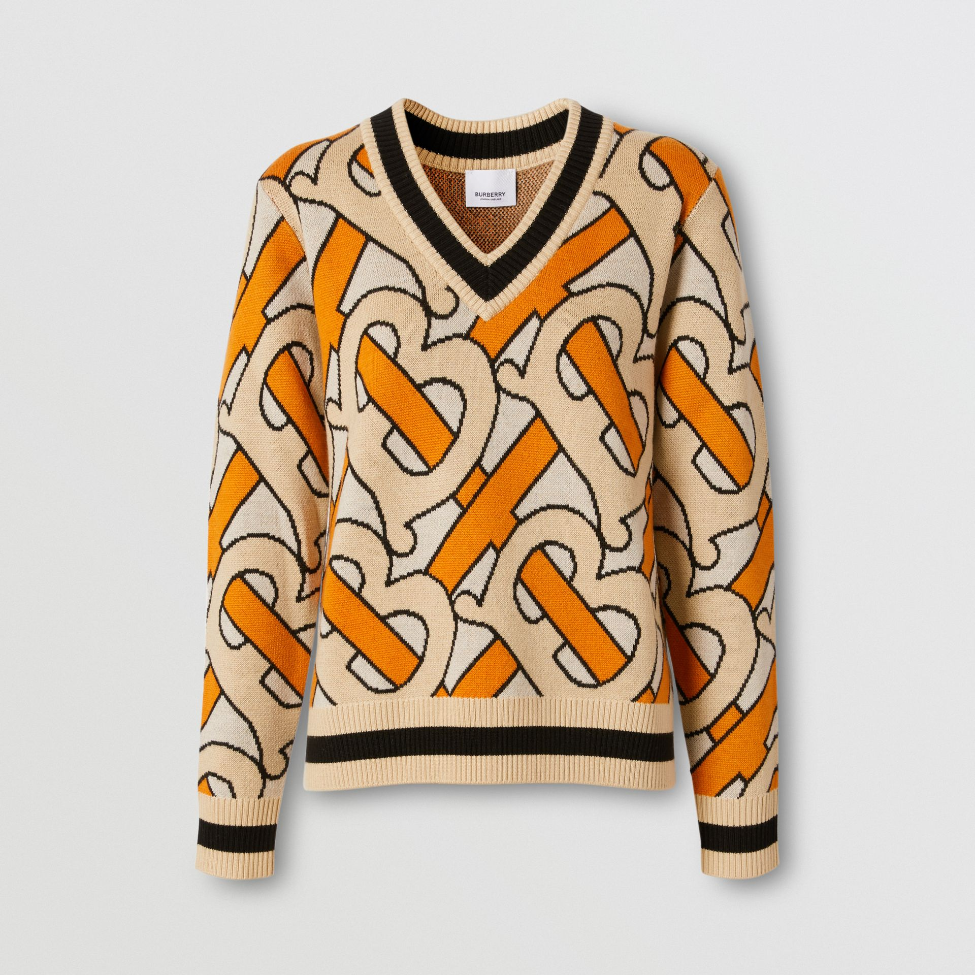 Monogram Intarsia Wool V-neck Sweater in Bright Orange - Women | Burberry Singapore - gallery image 3