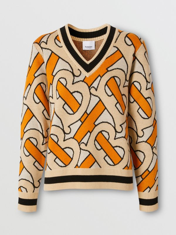Monogram Intarsia Wool V-neck Sweater in Bright Orange - Women | Burberry - cell image 3