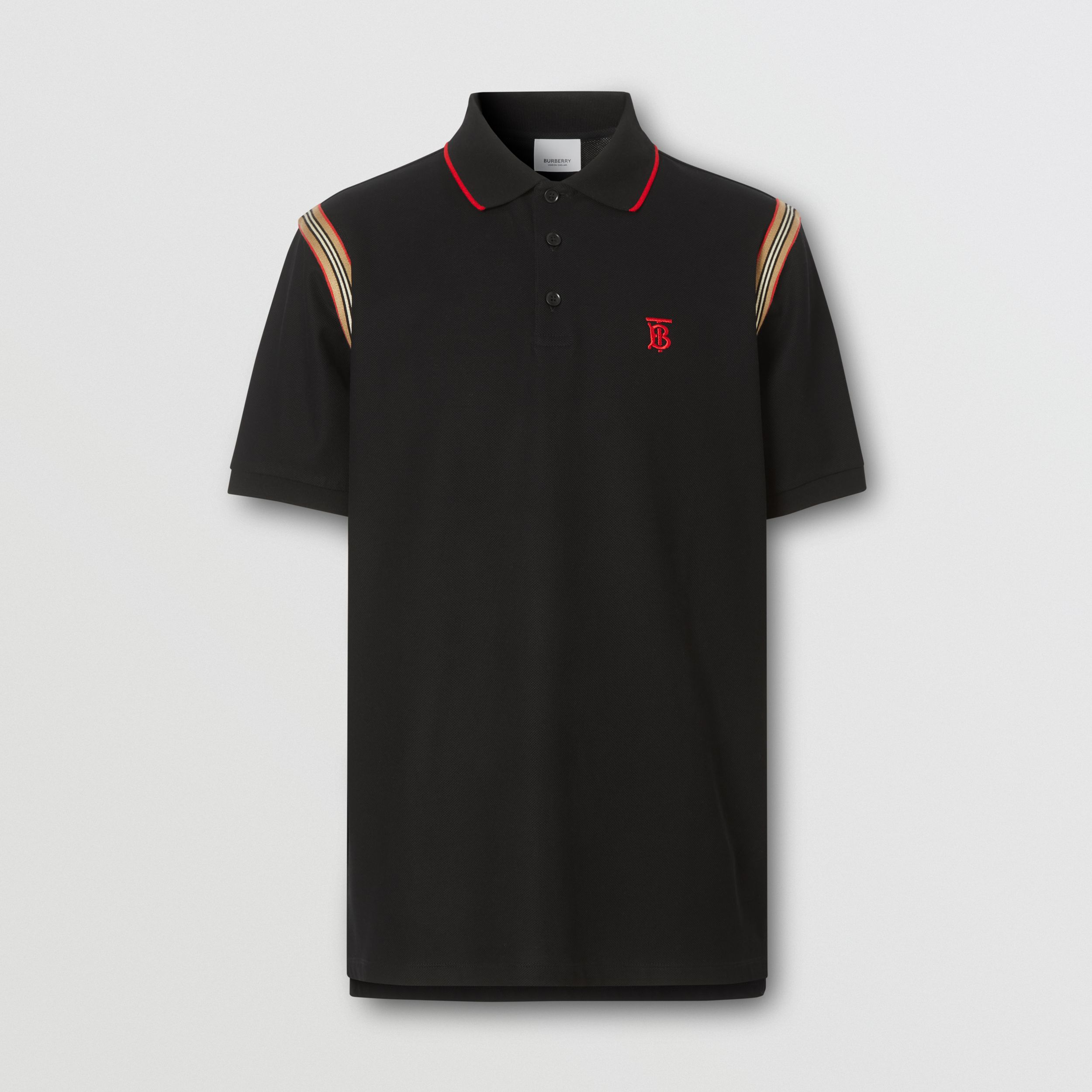 Icon Stripe Trim Monogram Motif Cotton Polo Shirt in Black - Men | Burberry Canada - 4