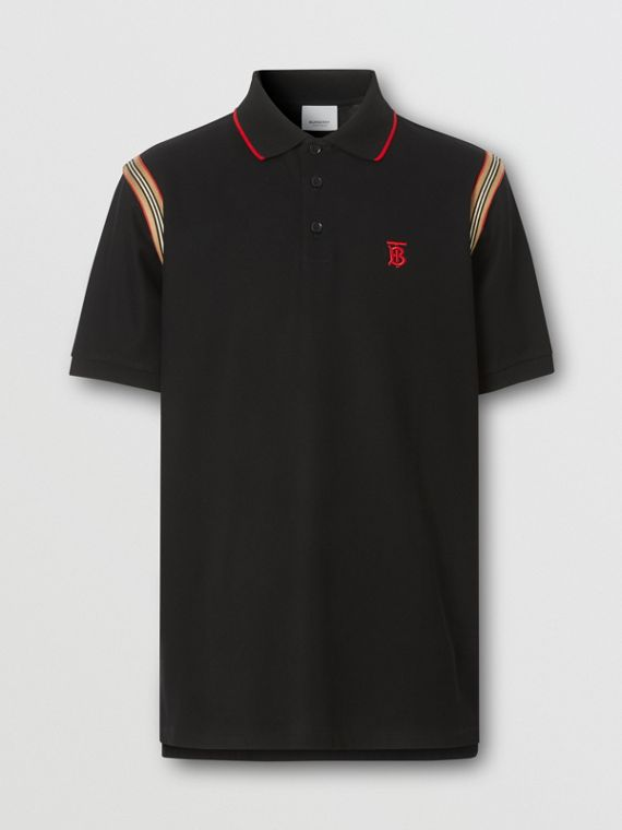 Icon Stripe Trim Monogram Motif Cotton Polo Shirt in Black