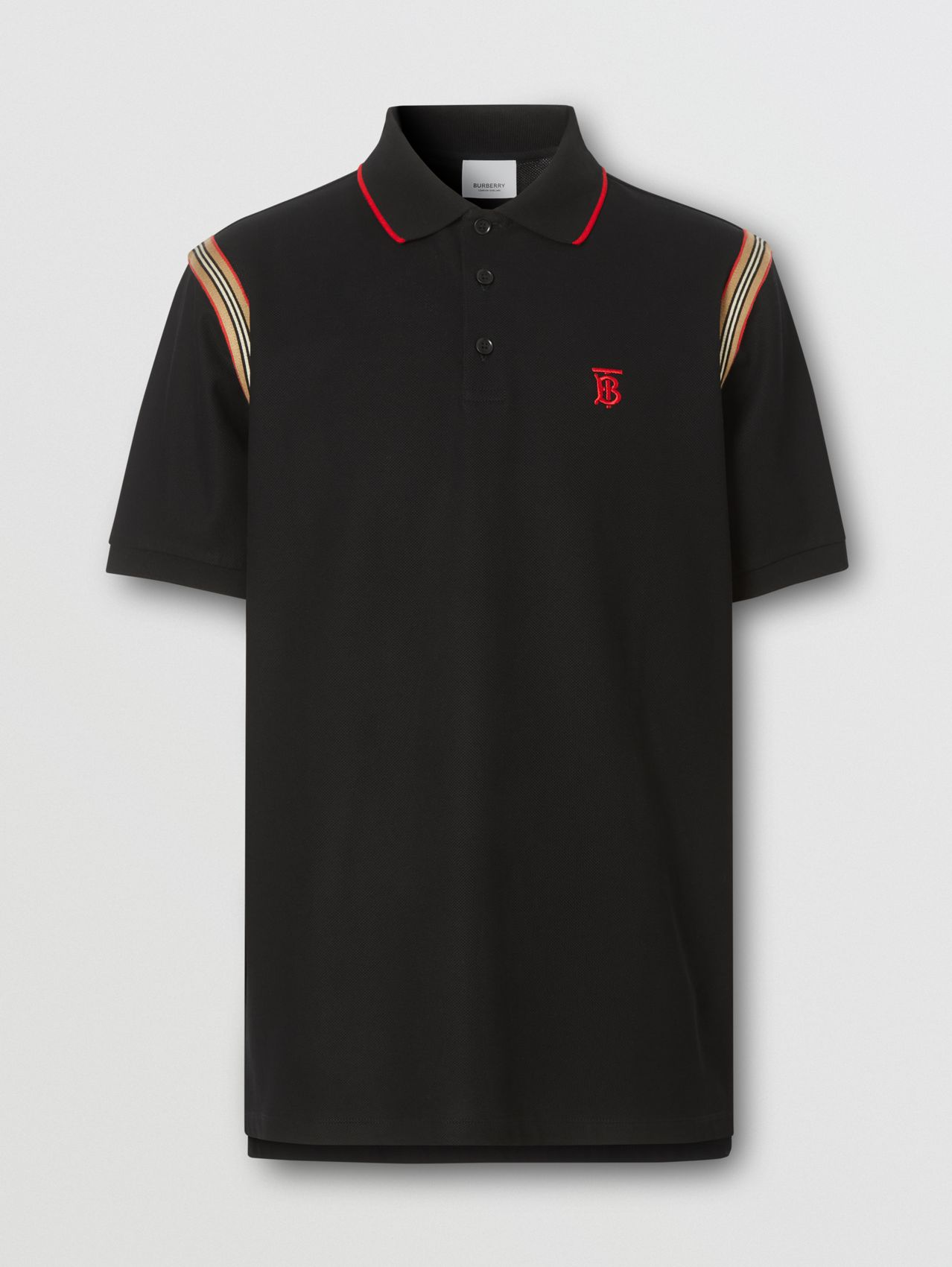 Icon Stripe Trim Monogram Motif Cotton Polo Shirt (Black)