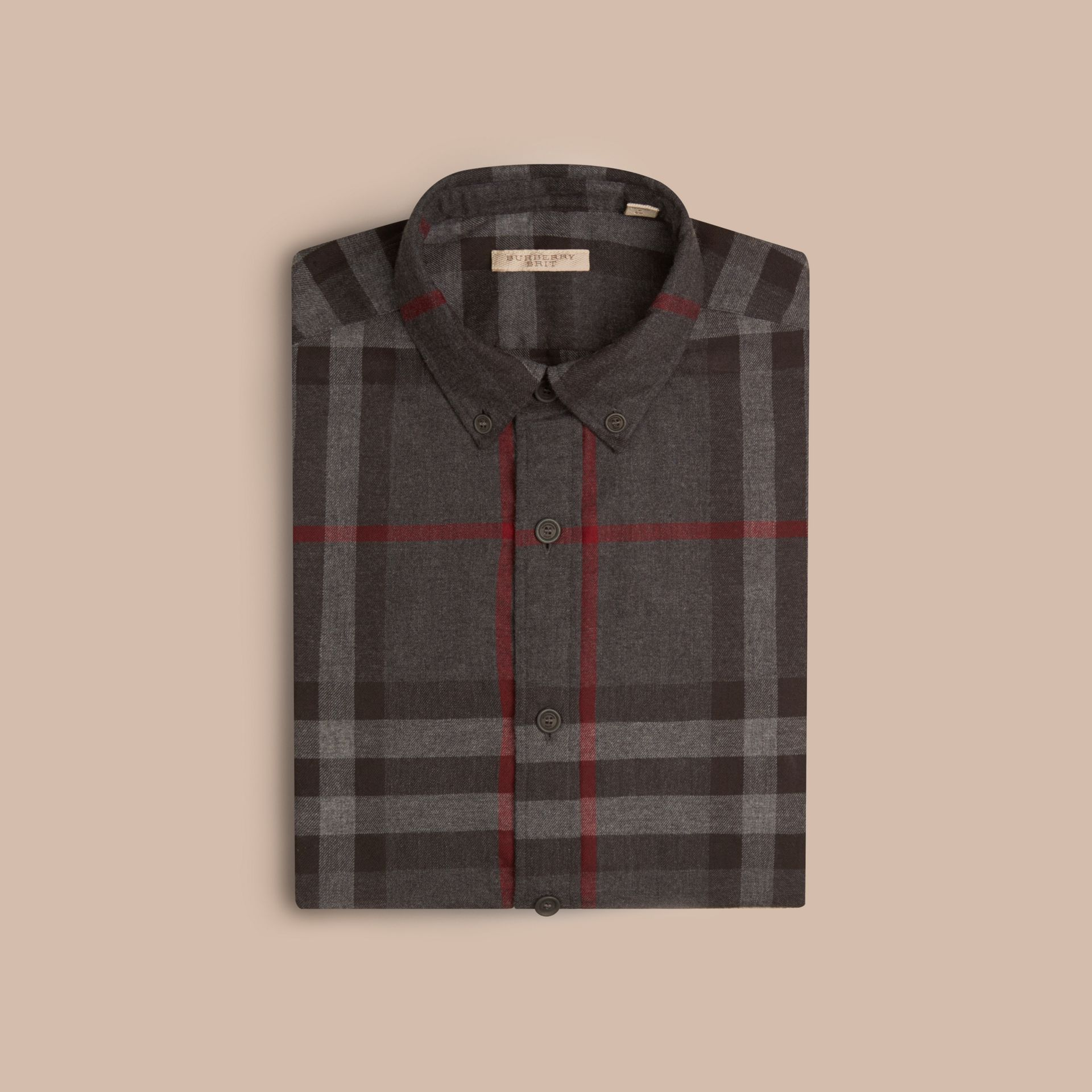 Charcoal Check Cotton Flannel Shirt Charcoal - gallery image 4