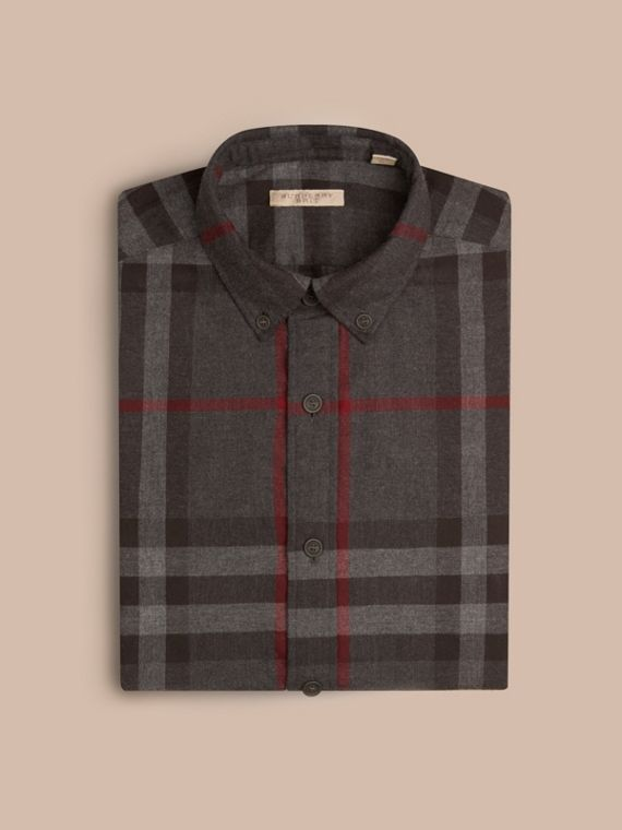 Charcoal Check Cotton Flannel Shirt Charcoal - cell image 3
