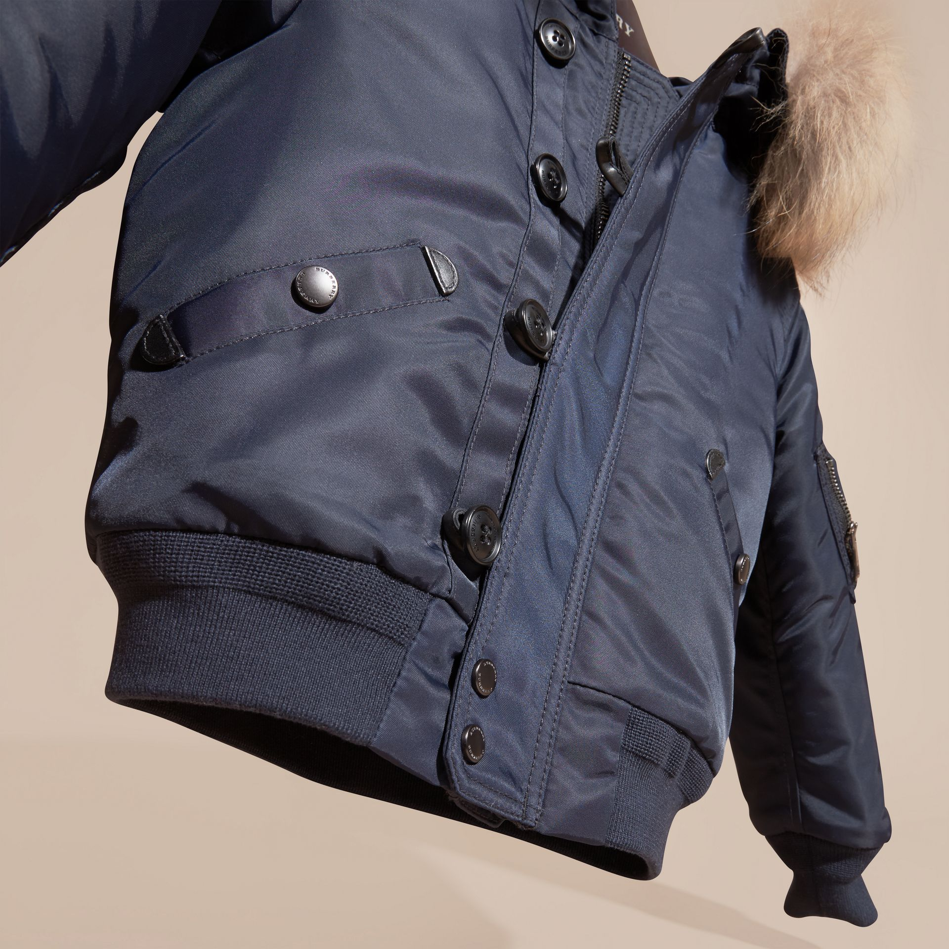 Navy Hooded Technical Twill Bomber Jacket with Fur Trim - gallery image 3
