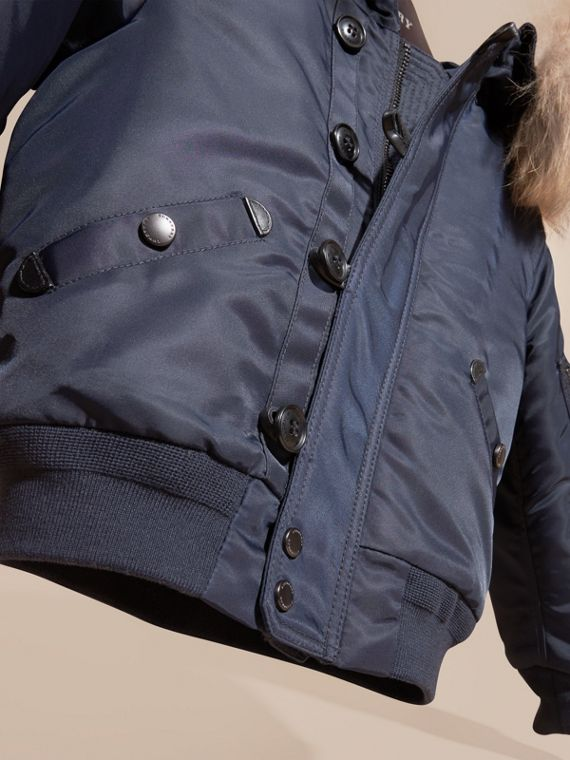 Navy Hooded Technical Twill Bomber Jacket with Fur Trim - cell image 2