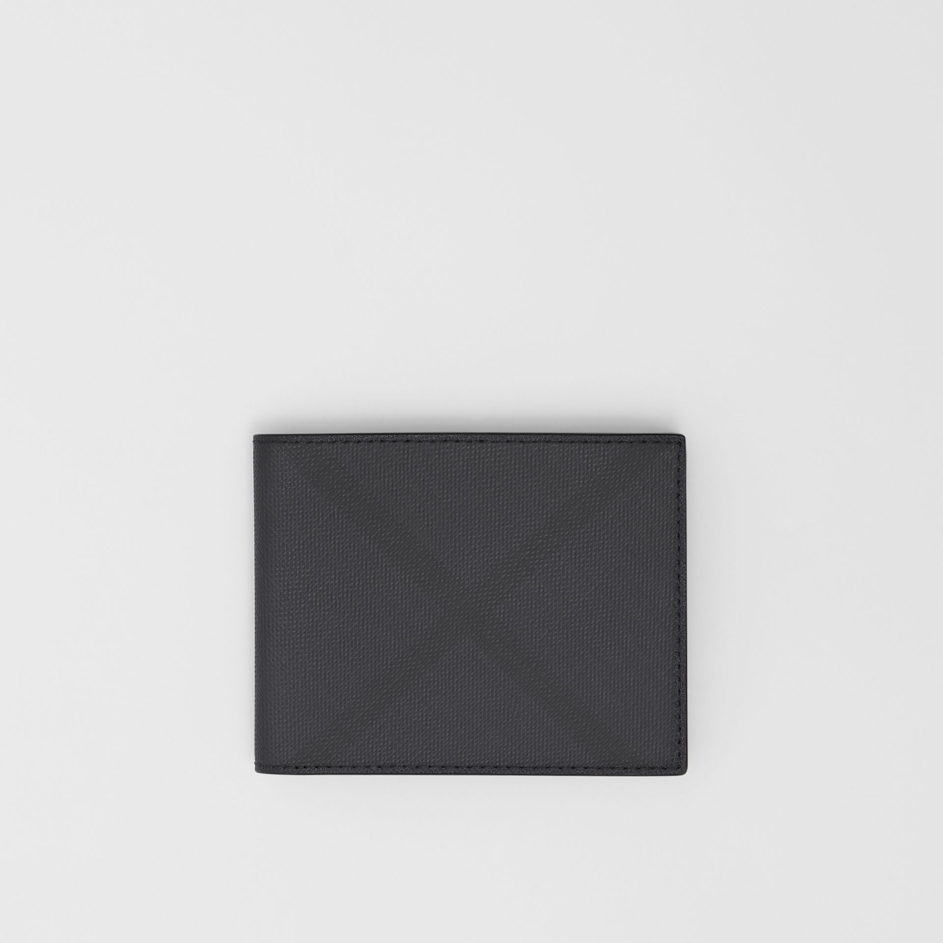 London Check and Leather Bifold Wallet in Dark Charcoal - Men | Burberry United Kingdom - gallery image 0