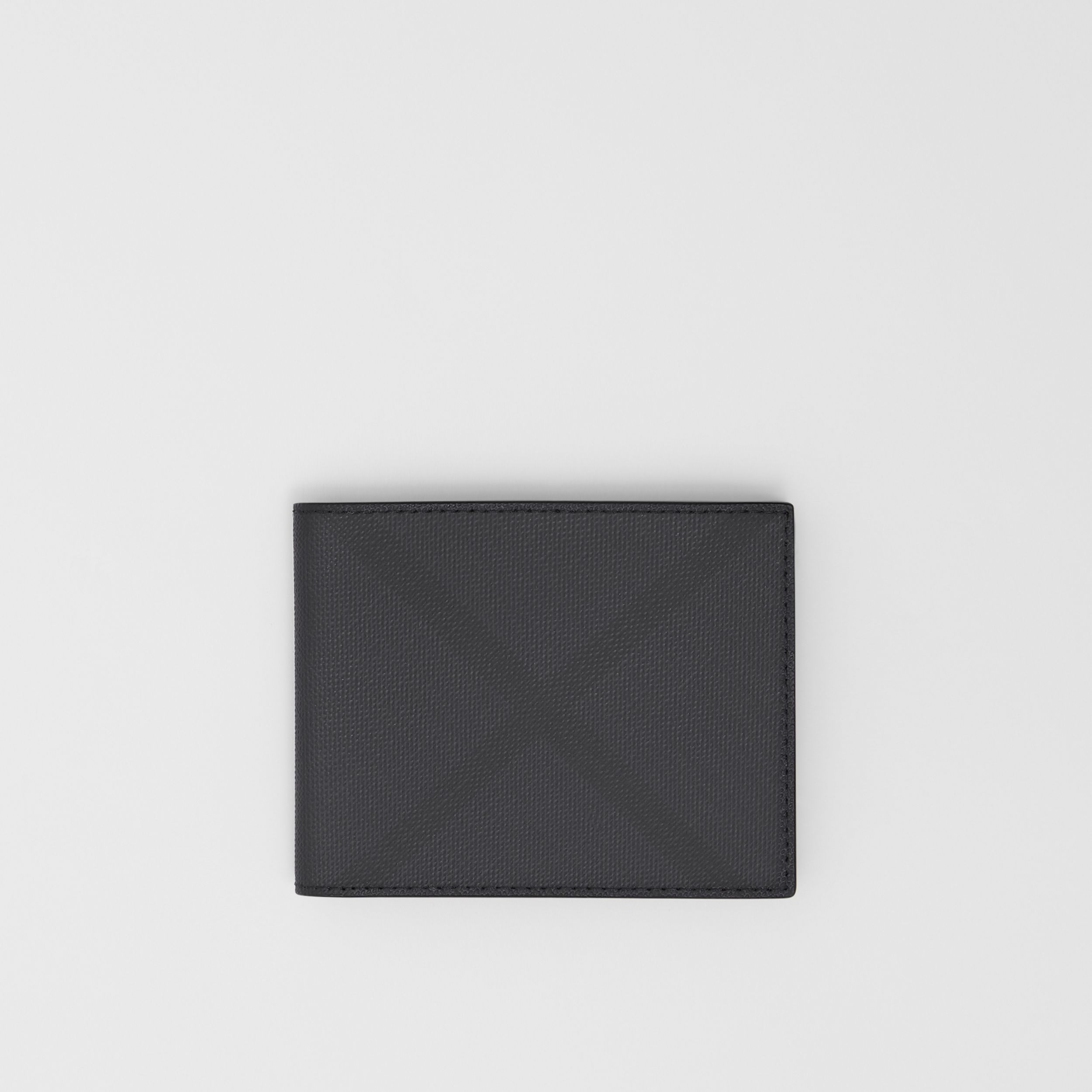 London Check and Leather Bifold Wallet in Dark Charcoal - Men | Burberry Singapore - 1