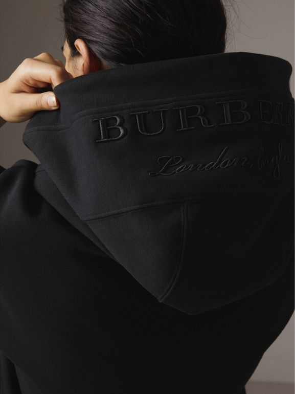 Embroidered Hood Sweatshirt Dress in Black - Women | Burberry - cell image 1