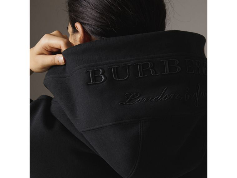 Embroidered Hood Sweatshirt Dress in Black - Women | Burberry United Kingdom - cell image 1