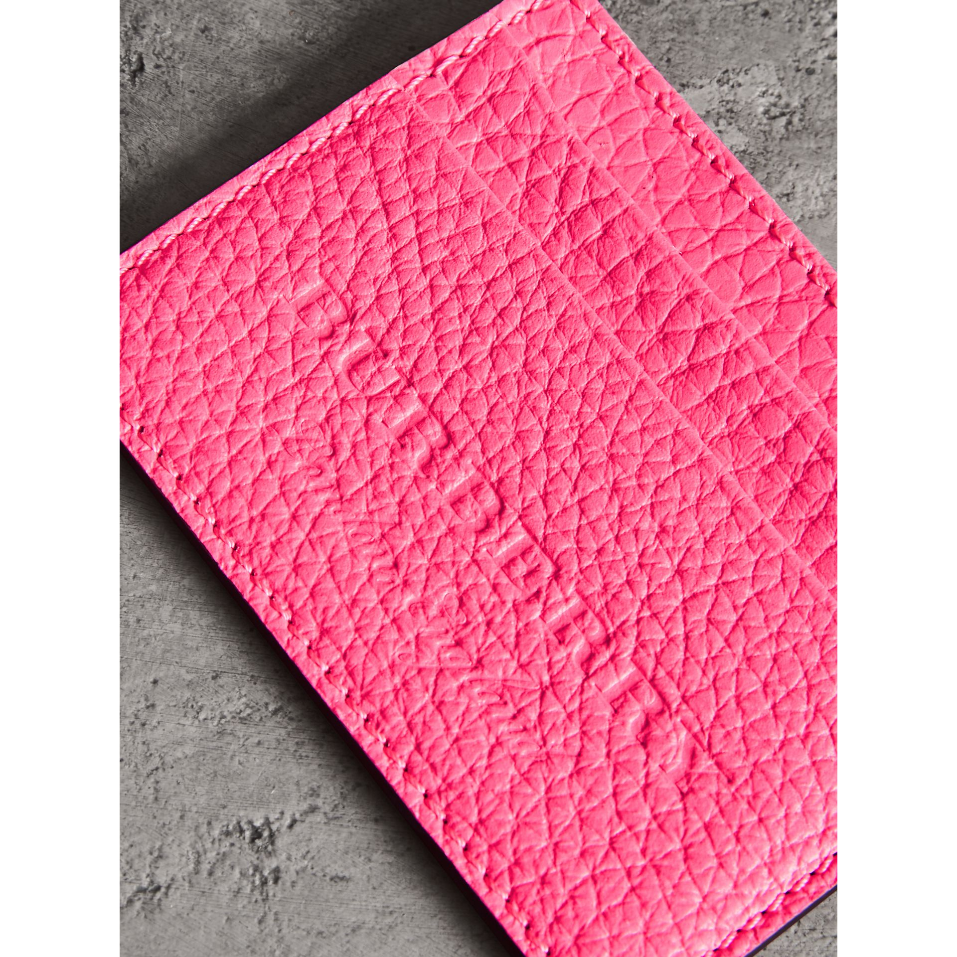 Embossed Textured Leather Card Case in Neon Pink | Burberry - gallery image 1