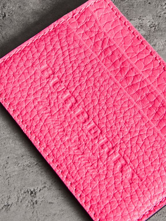 Embossed Textured Leather Card Case in Neon Pink | Burberry - cell image 1