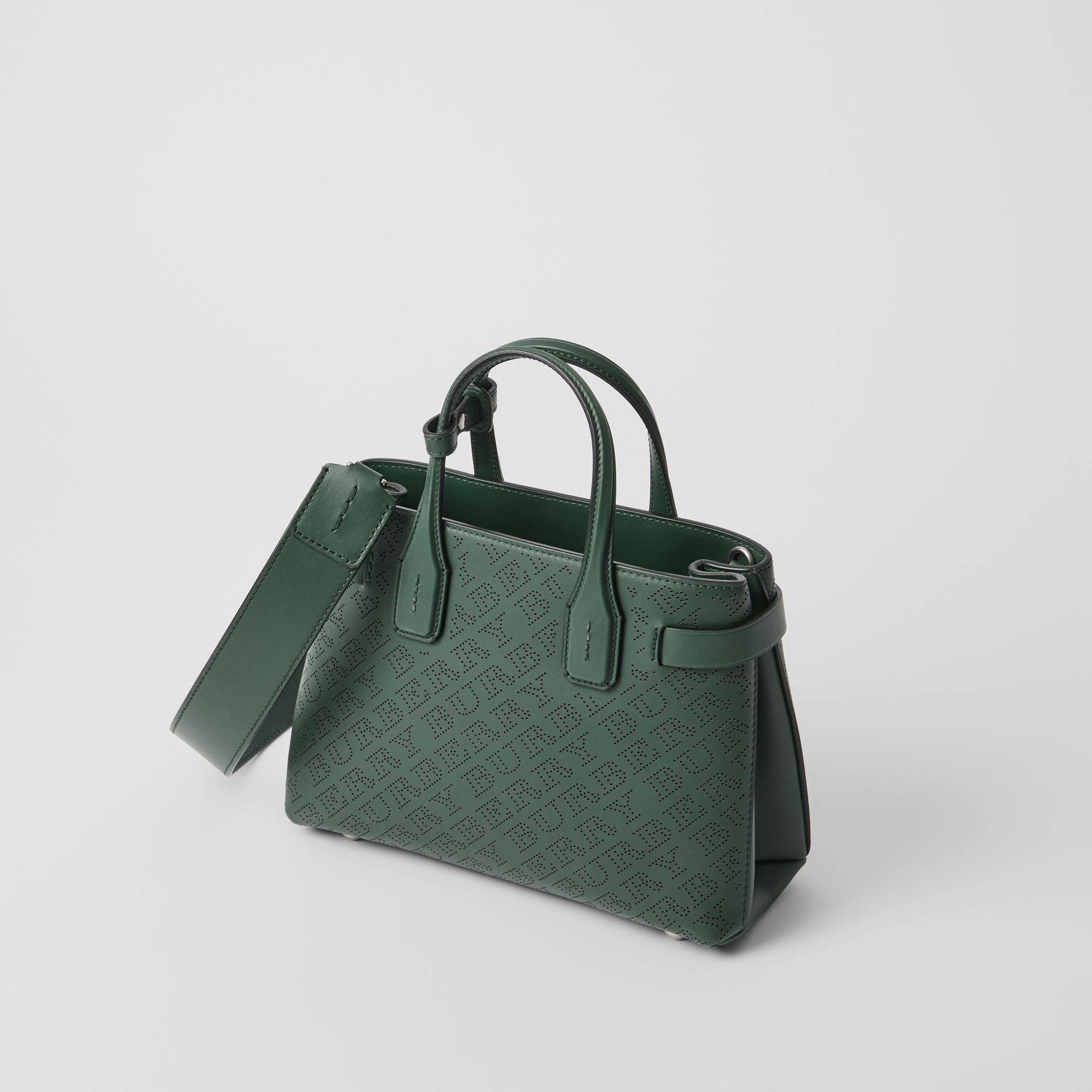 The Small Banner in Perforated Logo Leather in Vintage Green - Women | Burberry - gallery image 4