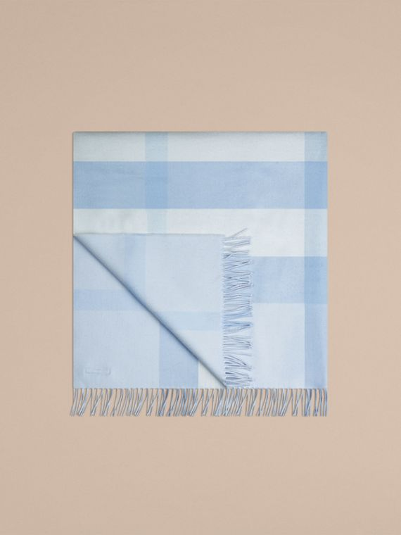 Ice blue Check Merino Wool Baby Blanket Ice Blue - cell image 2