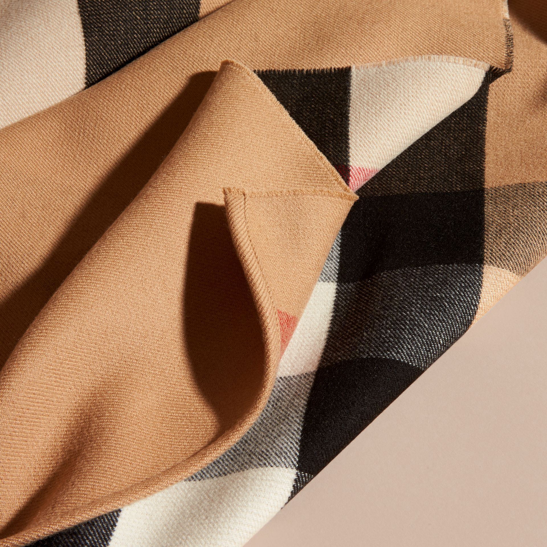 Reversible Check Merino Wool Poncho in Camel - Women | Burberry Canada - gallery image 2