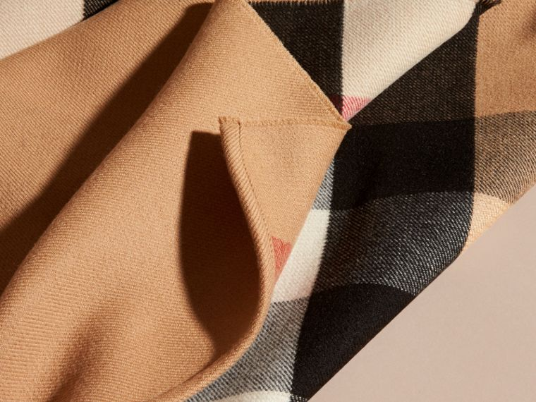 Reversible Check Merino Wool Poncho in Camel - Women | Burberry Canada - cell image 1