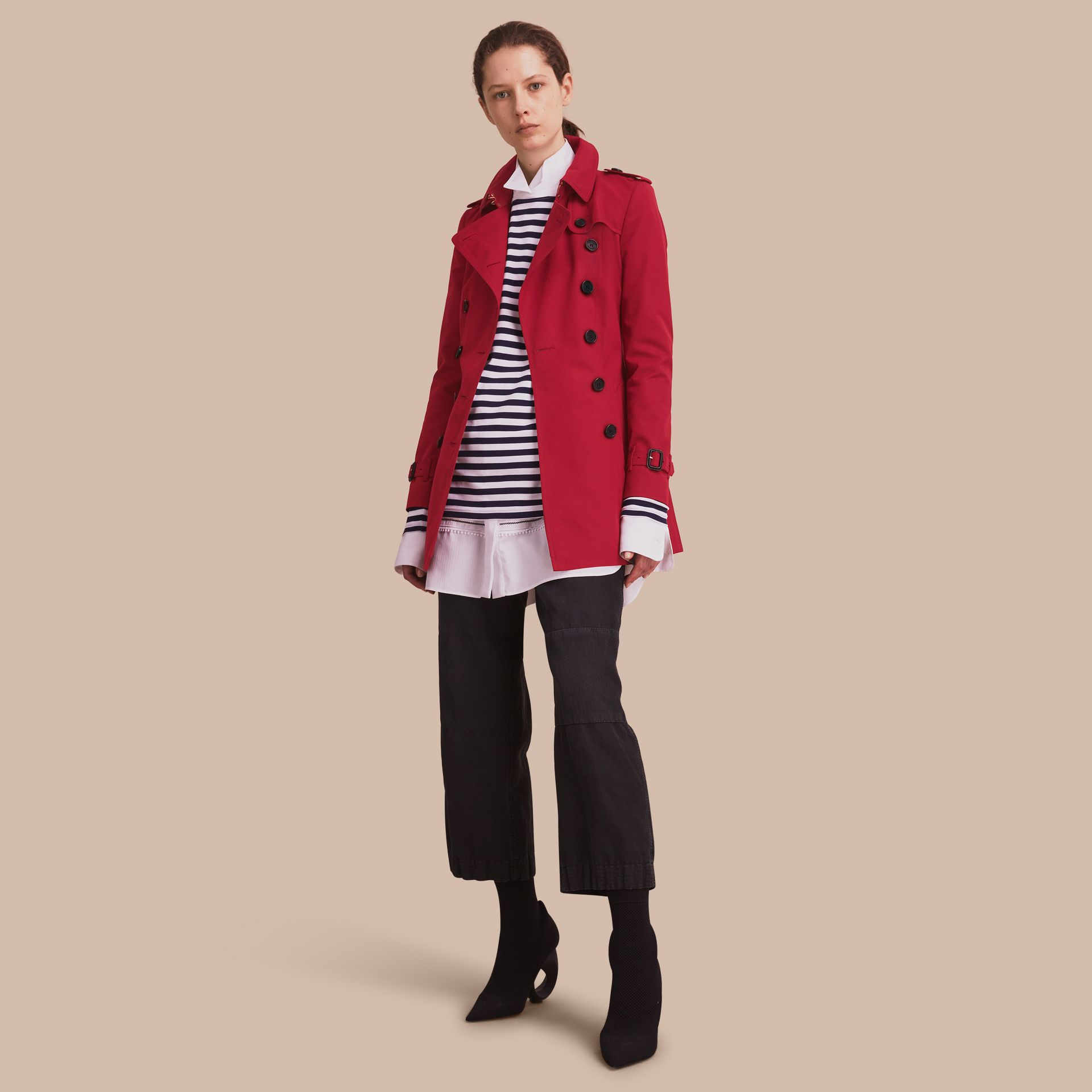 The Chelsea – Short Heritage Trench Coat in Parade Red - gallery image 7