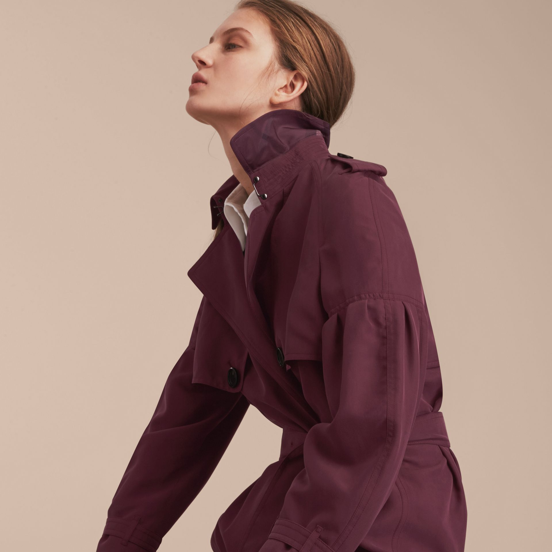 Burgundy Oversize Silk Trench Coat with Puff Sleeves Burgundy - gallery image 5