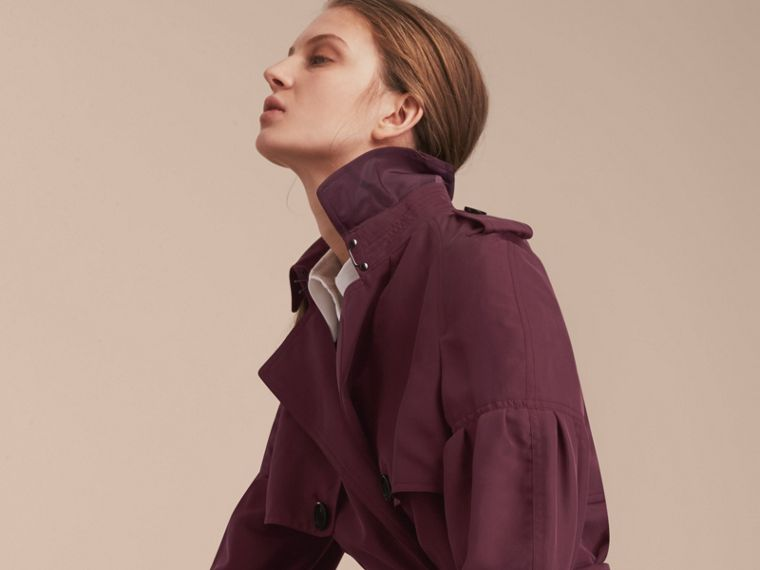 Burgundy Oversize Silk Trench Coat with Puff Sleeves Burgundy - cell image 4