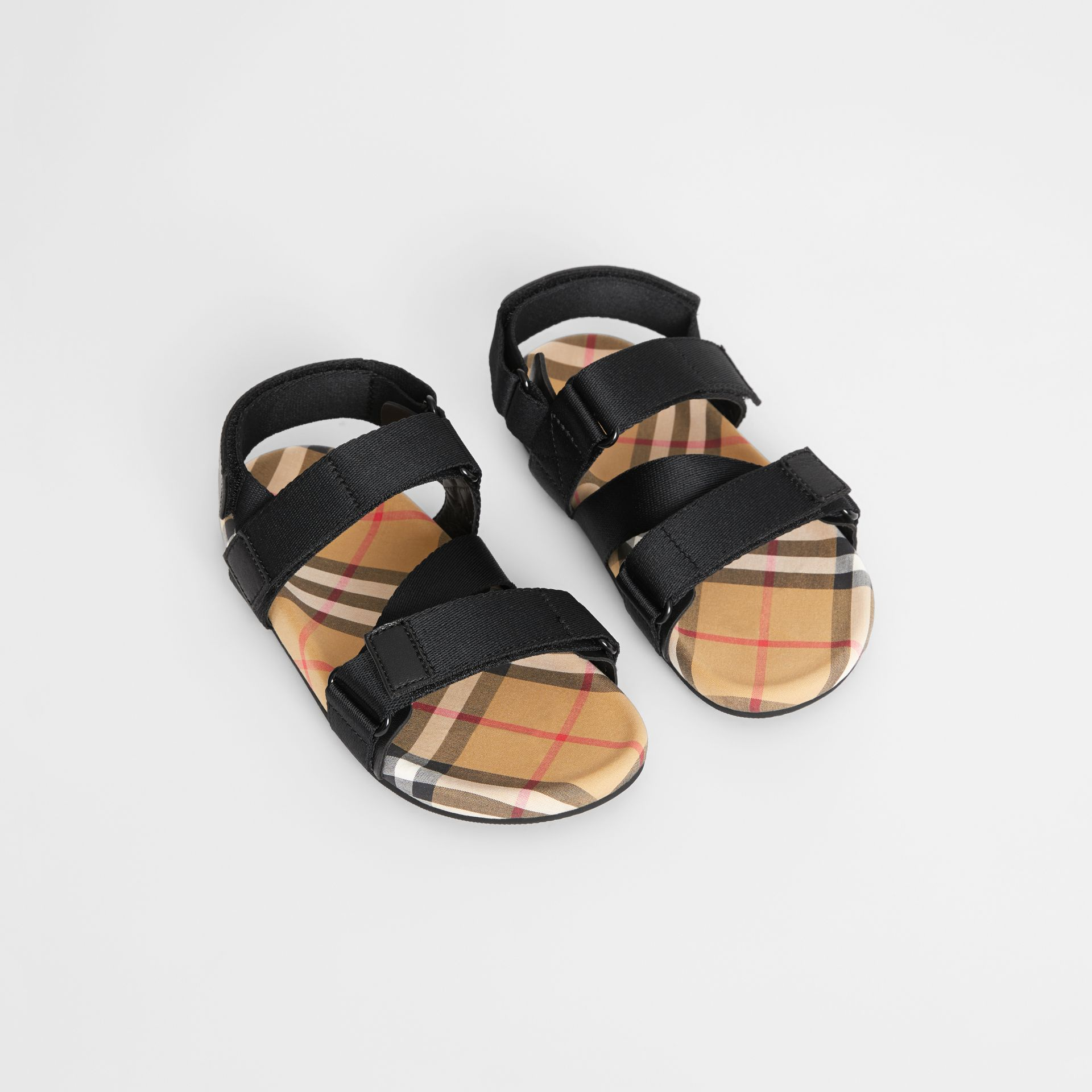 Ripstop Strap Vintage Check Cotton Sandals in Black/antique Yellow - Children | Burberry - gallery image 0