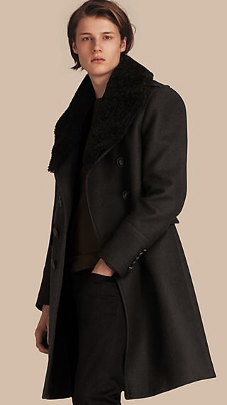 Technical Wool Greatcoat with Detachable Shearling Collar